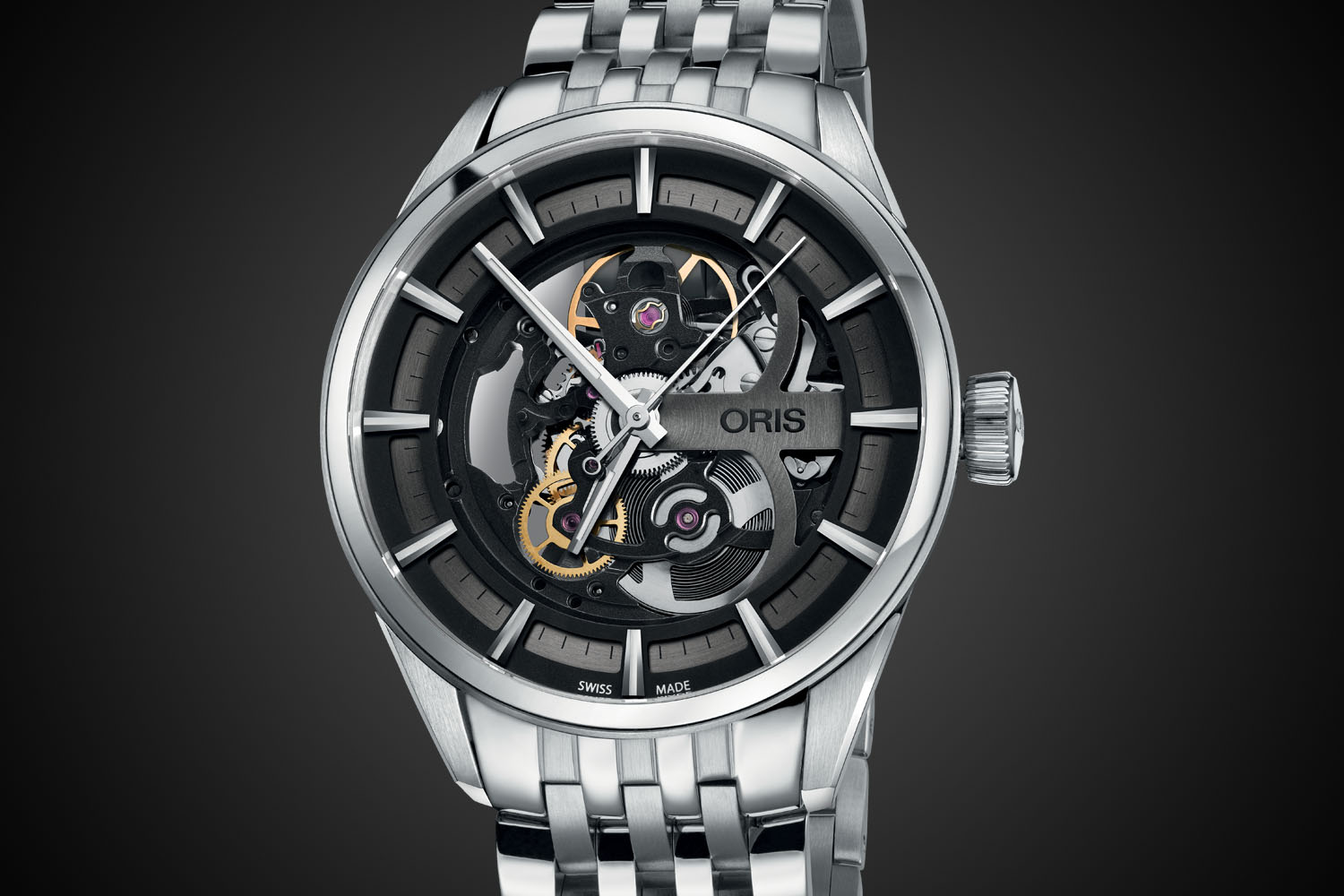 Oris Artix Skeleton Automatic - metallic bracelet