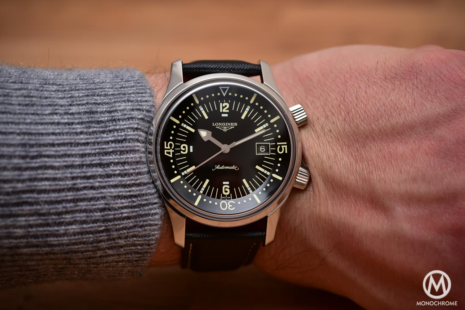 Comparative Review - 3 affordable & vintage-inspired dive watches - Longines Legend Diver - wristshot