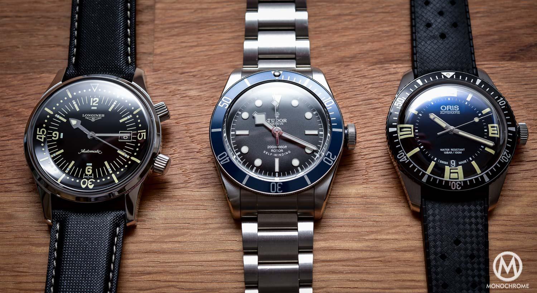 Comparative Review - 3 affordable & vintage-inspired dive watches - Tudor Black Bay - Oris Divers Sixty Five - Longines Legend Diver - 2