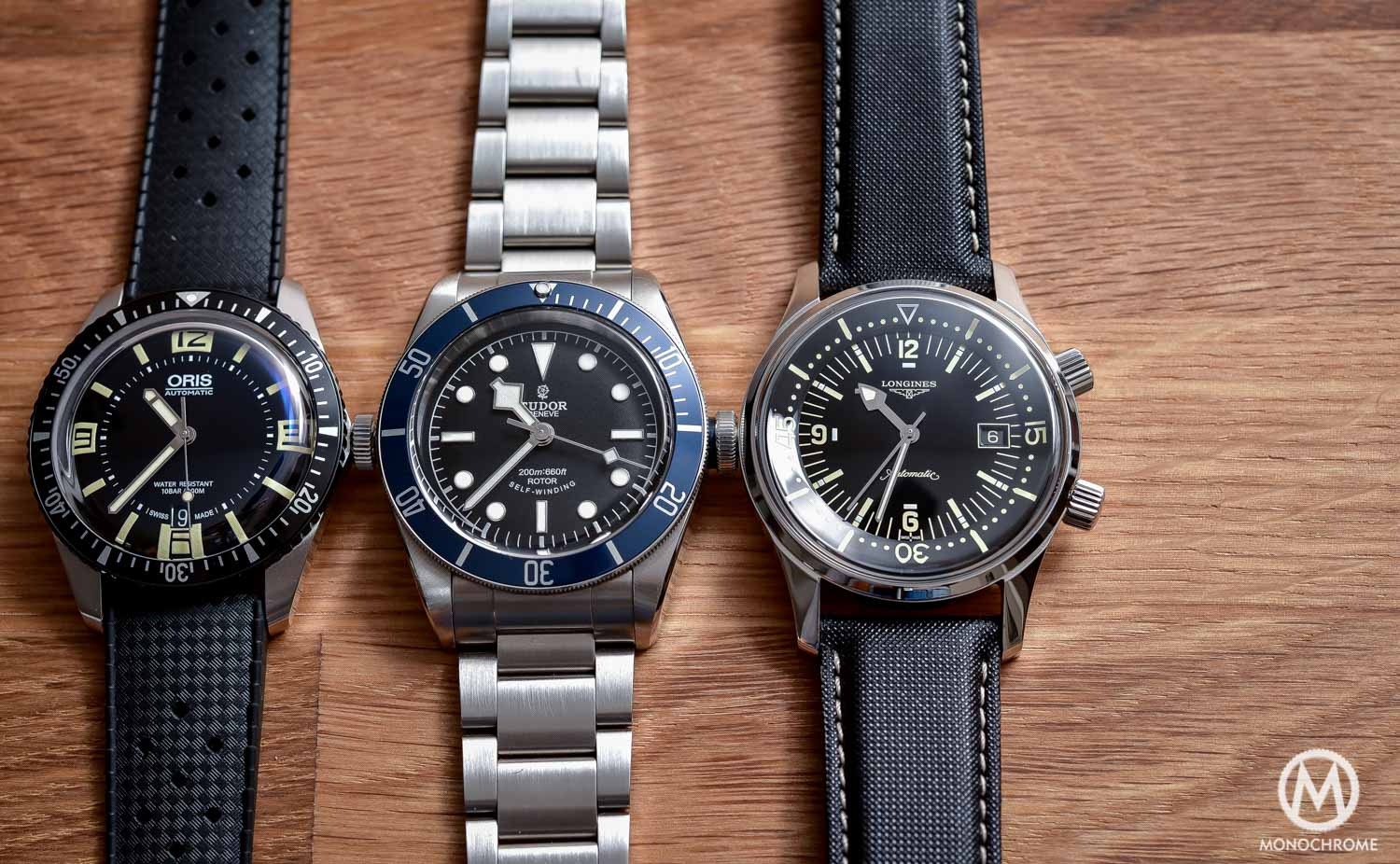 Comparative Review - 3 affordable & vintage-inspired dive watches - Tudor Black Bay - Oris Divers Sixty Five - Longines Legend Diver - 3