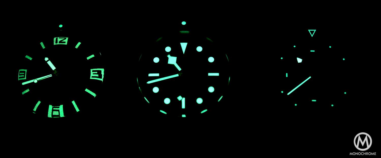 Comparative Review - 3 affordable & vintage-inspired dive watches - Tudor Black Bay - Oris Divers Sixty Five - Longines Legend Diver - lume shot