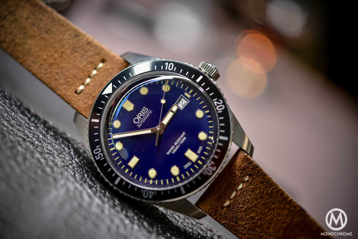 Oris Divers Sixty Five 42mm Blue Dial - Baselworld 2016 - Distressed leather