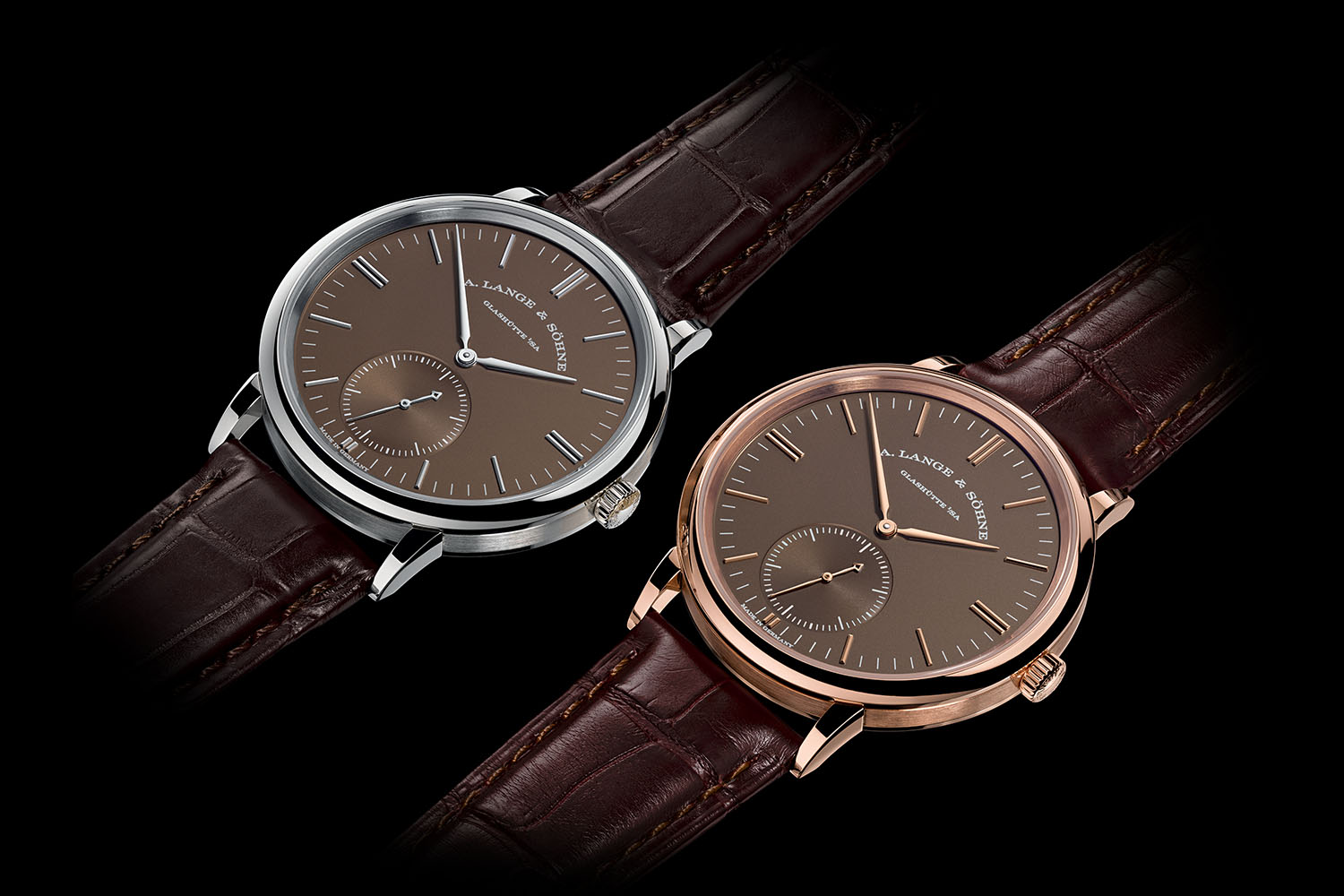 A. Lange and Sohne Saxonia Automatic Terra-Brown dials