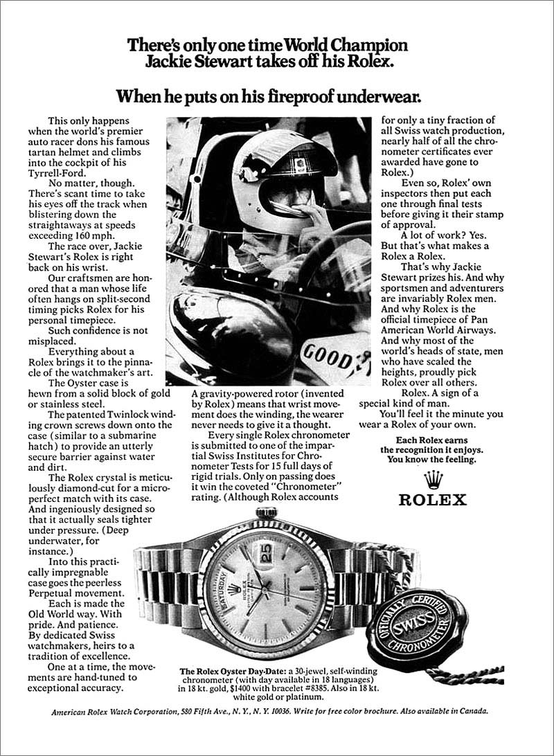Rolex advertisement with Sir Jackie Stewart
