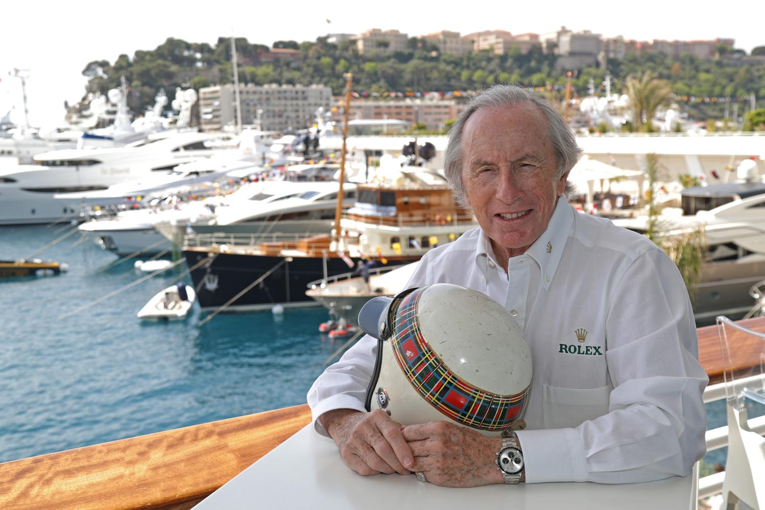 Sir Jackie Stewart wearing his 1971 Rolex Daytona