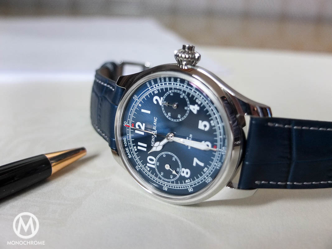 Montblanc 1858 Chronograph Tachymeter steel blue dial