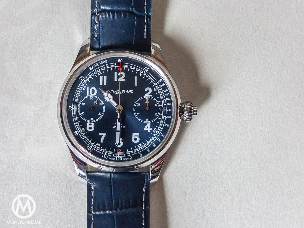 Montblanc 1858 Chronograph Tachymeter steel blue dial