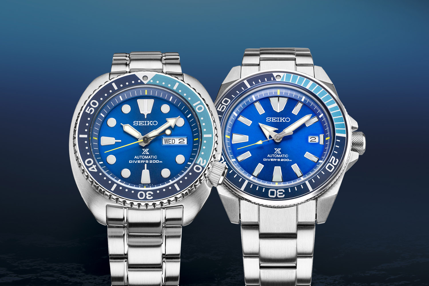 Seiko Prospex Turtle SRPB11 and Samurai SRPB09 Blue Lagoon Limited Editions