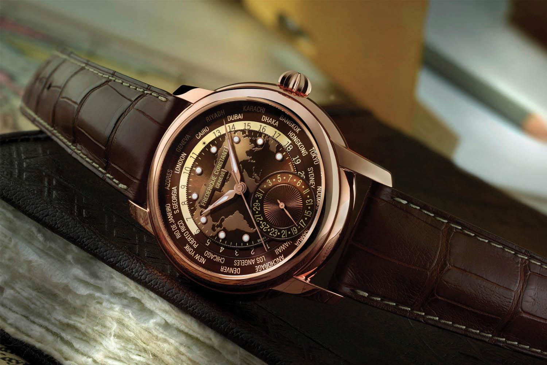 Frederique Constant Classic Worldtimer Manufacture Brown Dial