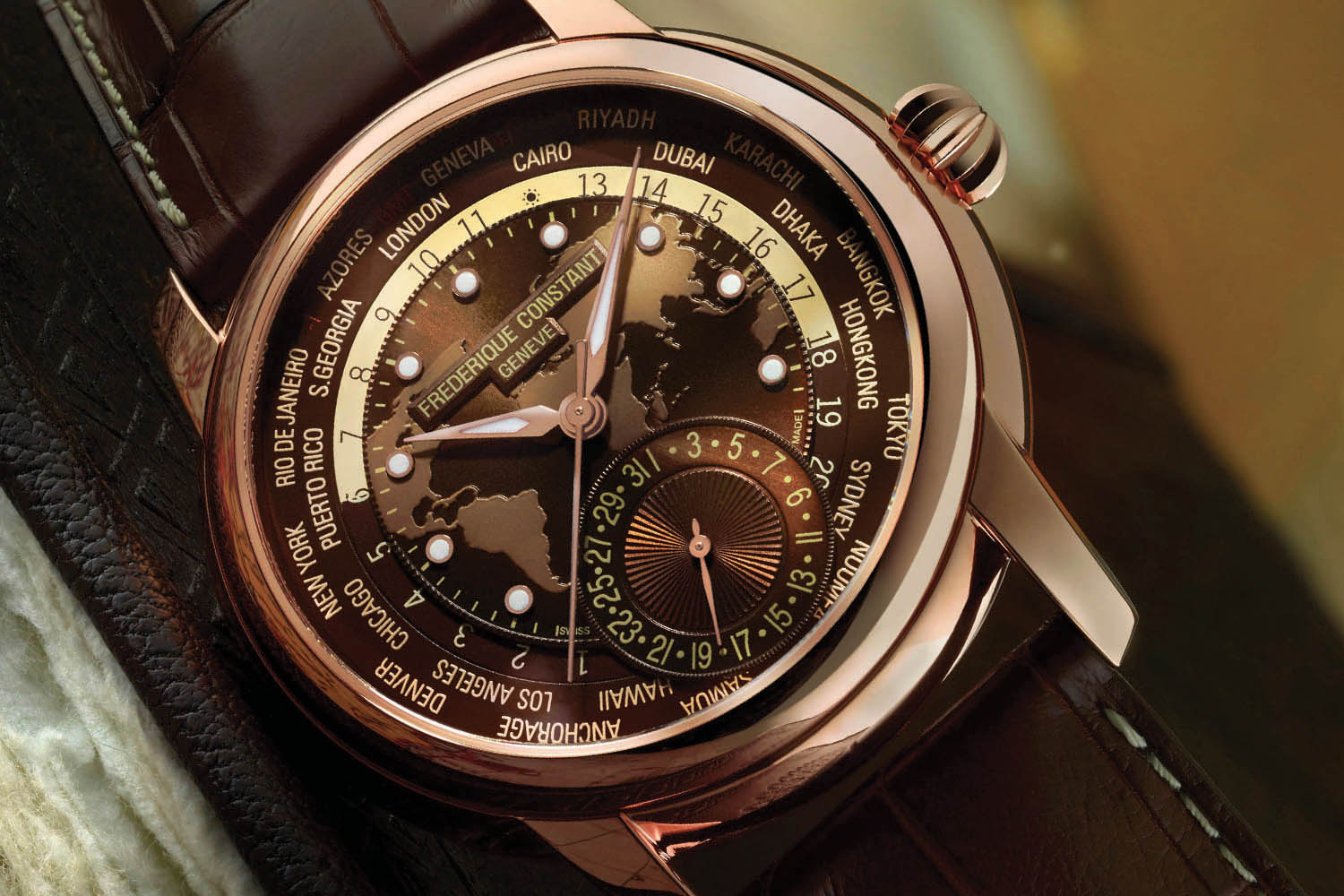 Frederique Constant Classic Worldtimer Manufacture Brown Dial