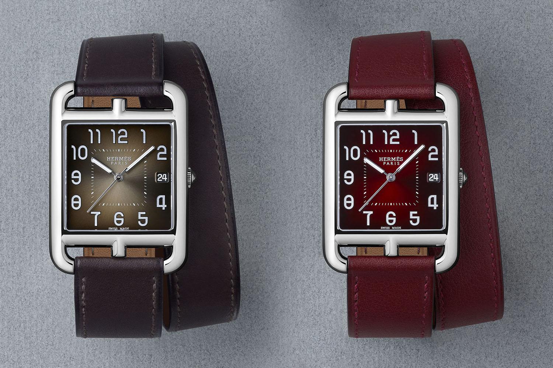 3e29c9489 Hermès Cape Cod TGM Bracelet de Force – The same watch as the Bicolore  version, with a bold Bracelet de Force strap in green or black alligator,  ...