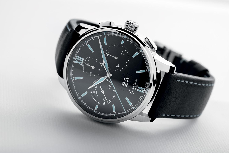 Glashutte Original Senator Chronograph Panorama Date Steel Black Dial - Baselworld 2017
