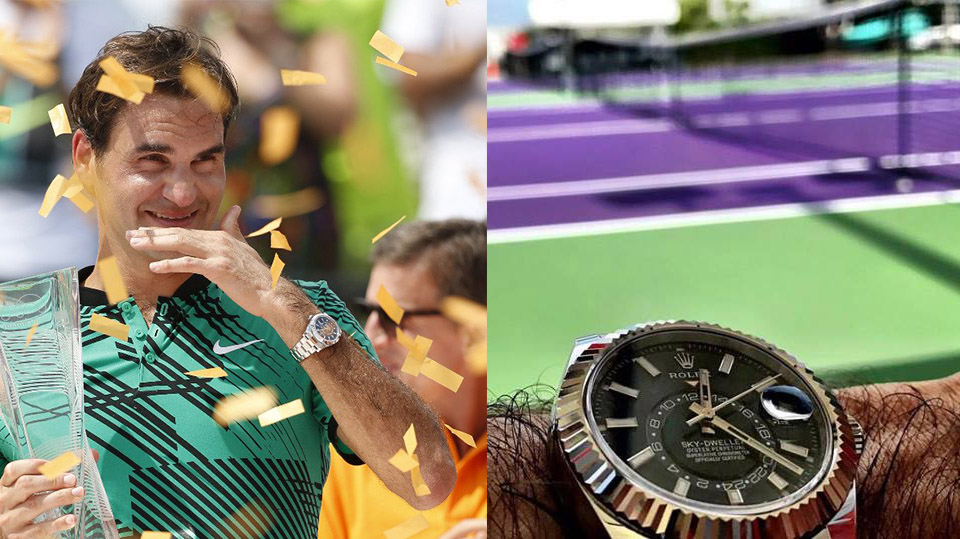 Spotted Roger Federer And His Rolex Sky Dweller In Steel At Miami