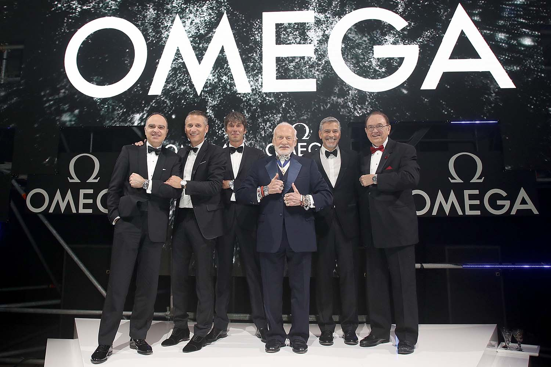 Petros Protopapas, Raynald Aeschlimann, Brian Cox, Buzz Aldrin, George Clooney and Jim Ragan
