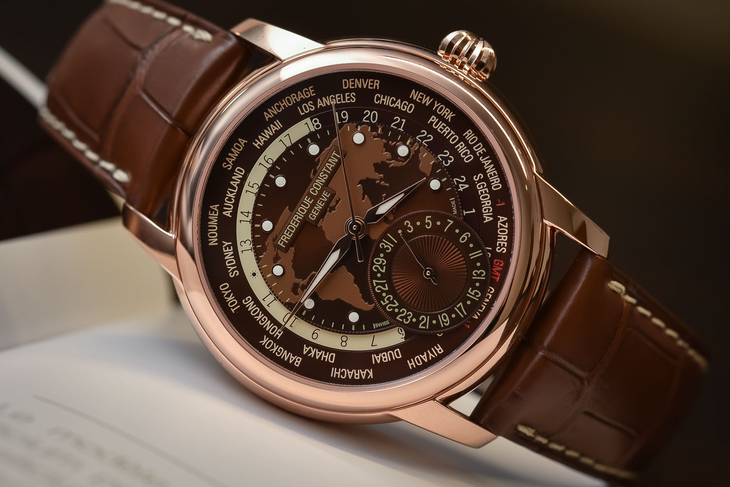 Frederique Constant Classic Manufacture Worldtimer Brown Dial