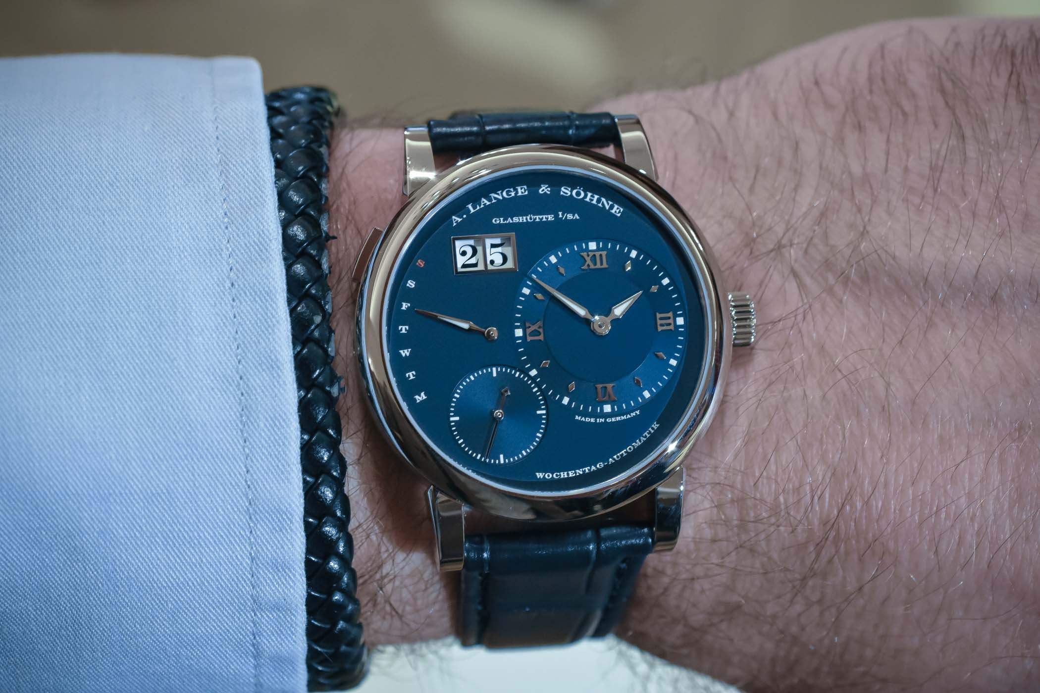 A. Lange and Sohne Lange 1 Daymatic Blue Dial 320.028