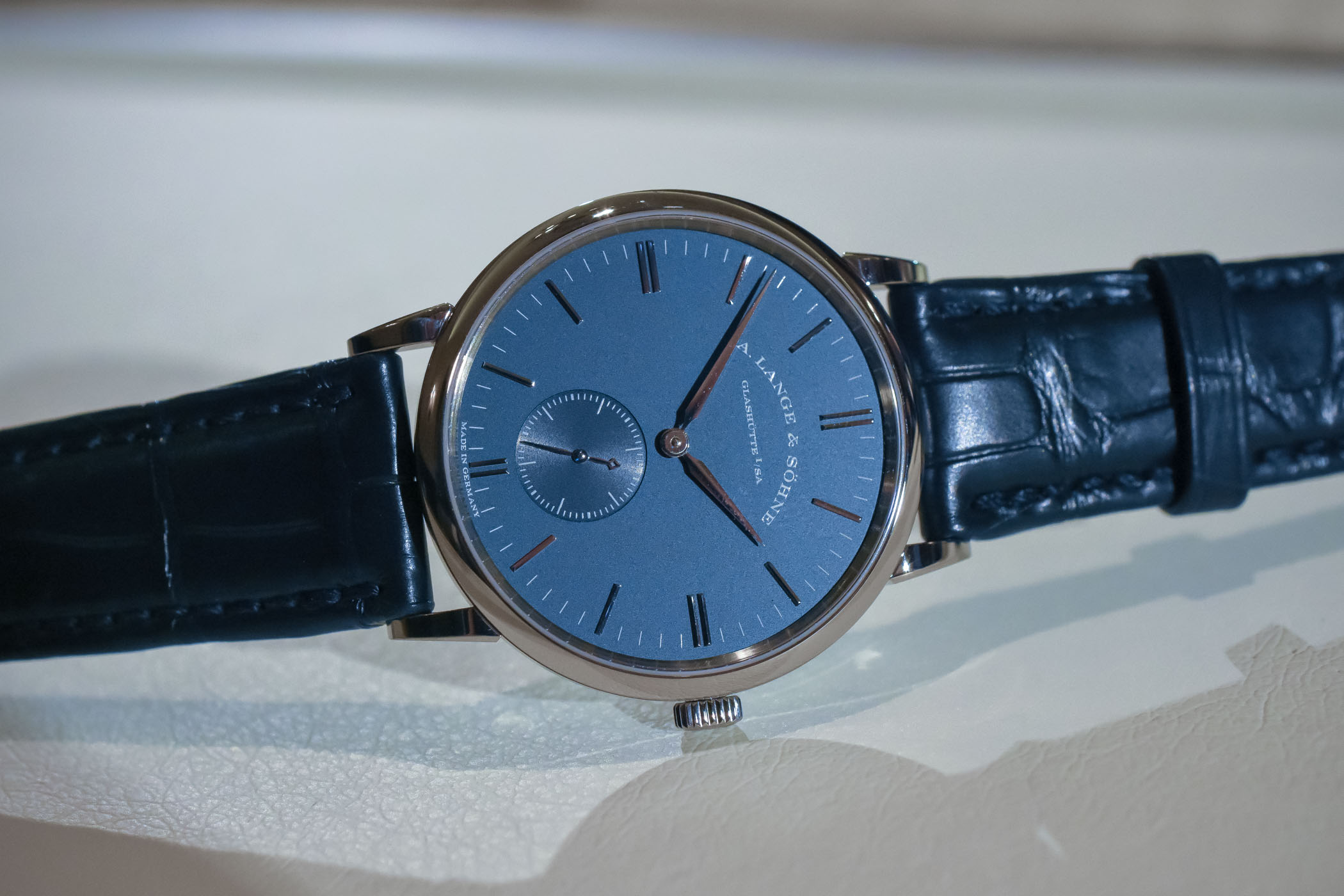 A. Lange and Sohne Saxonia handwound blue dial 219.028
