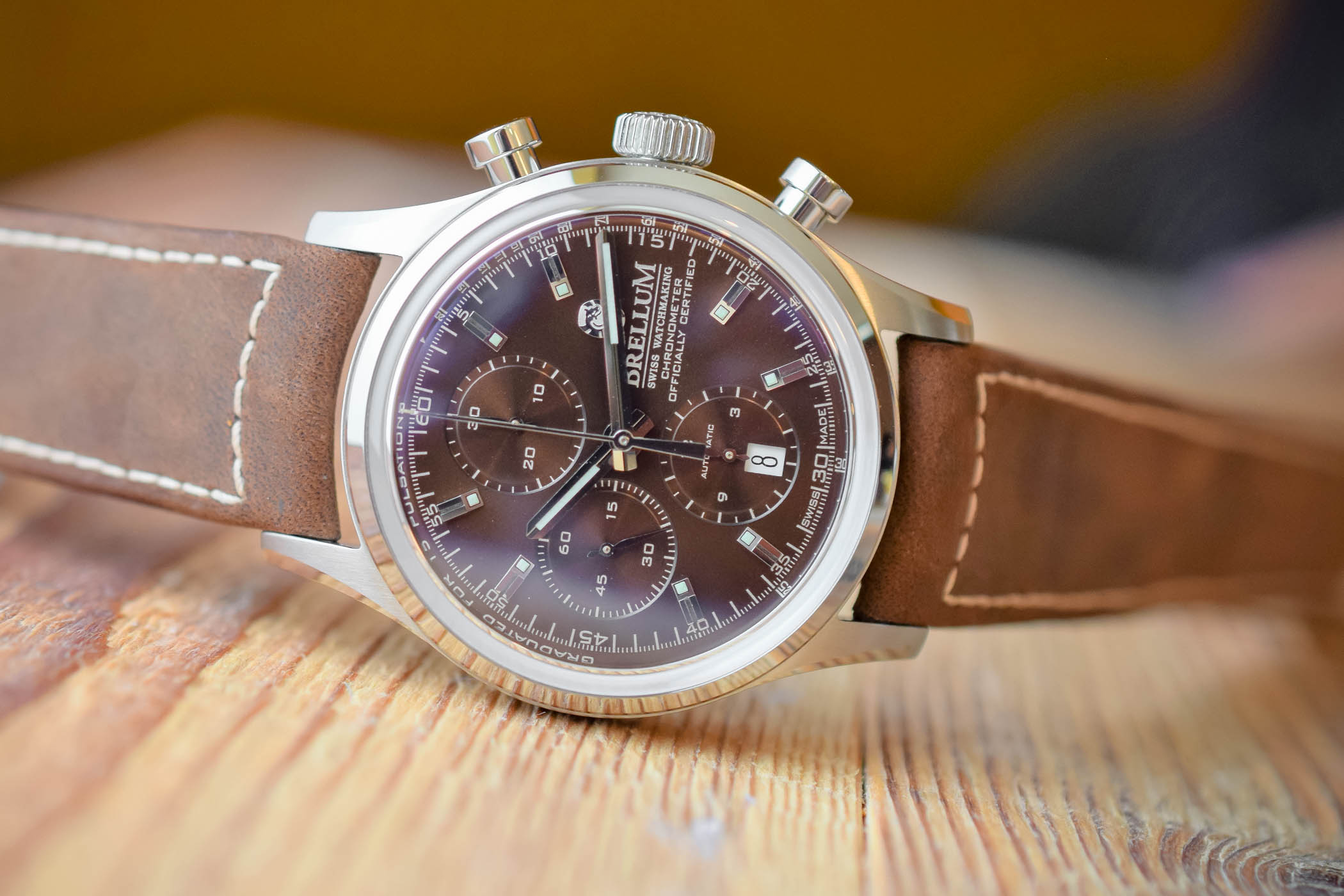 Brellum Duobox Chronograph Brown Dial