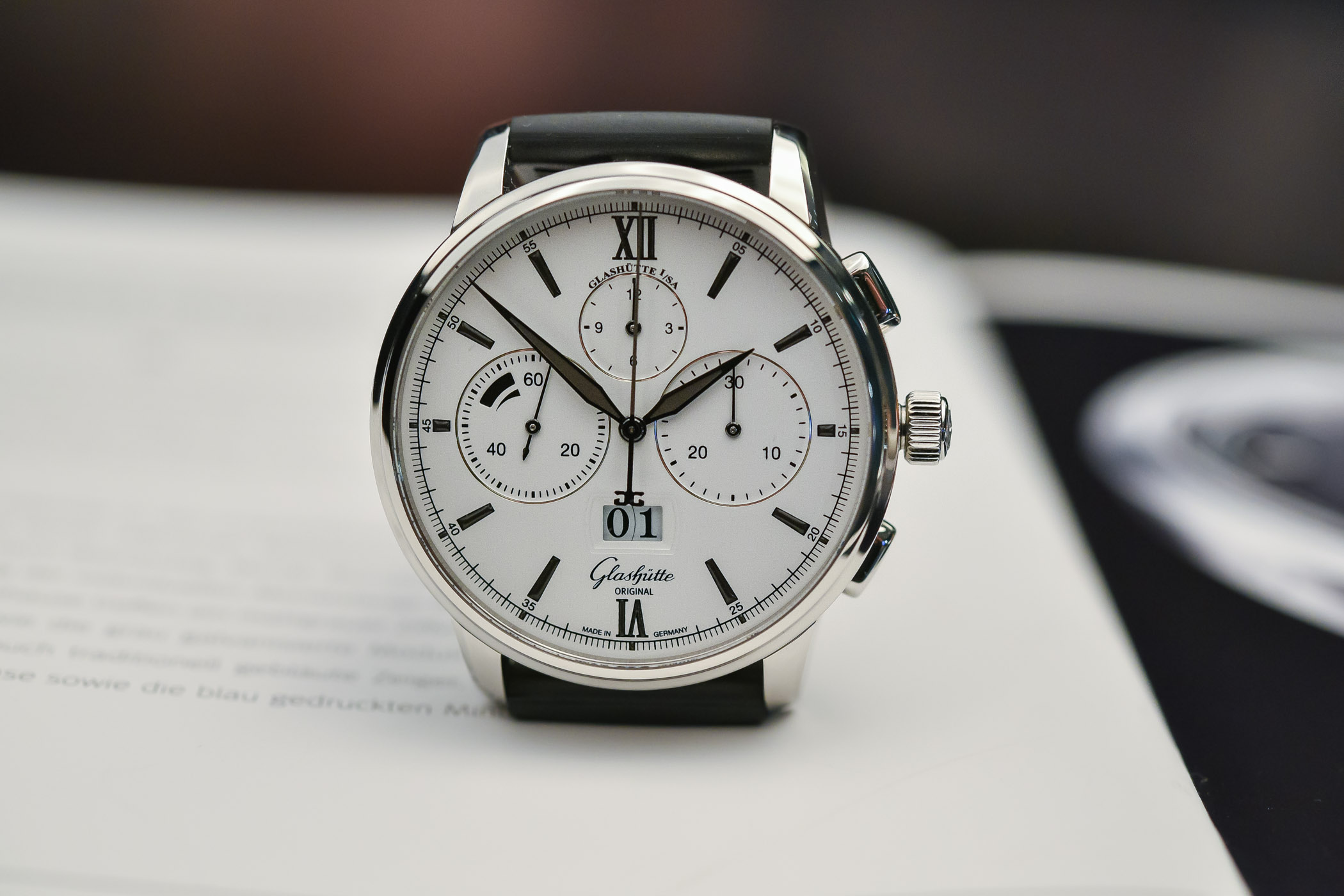 Glashutte Original Senator Chronograph Steel white dial