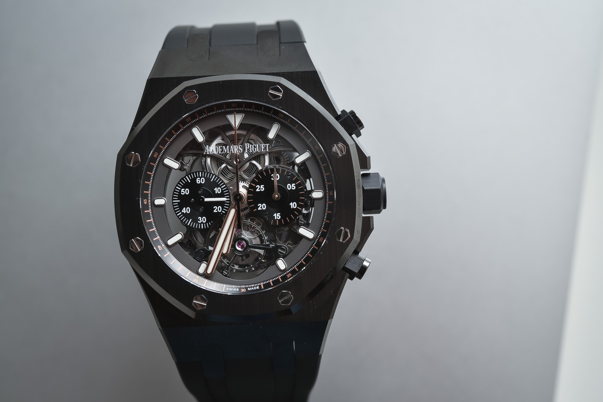 1df86bc502f Audemars Piguet Royal Oak Tourbillon Chronograph Openworked Black Ceramic  ref. 26343CE