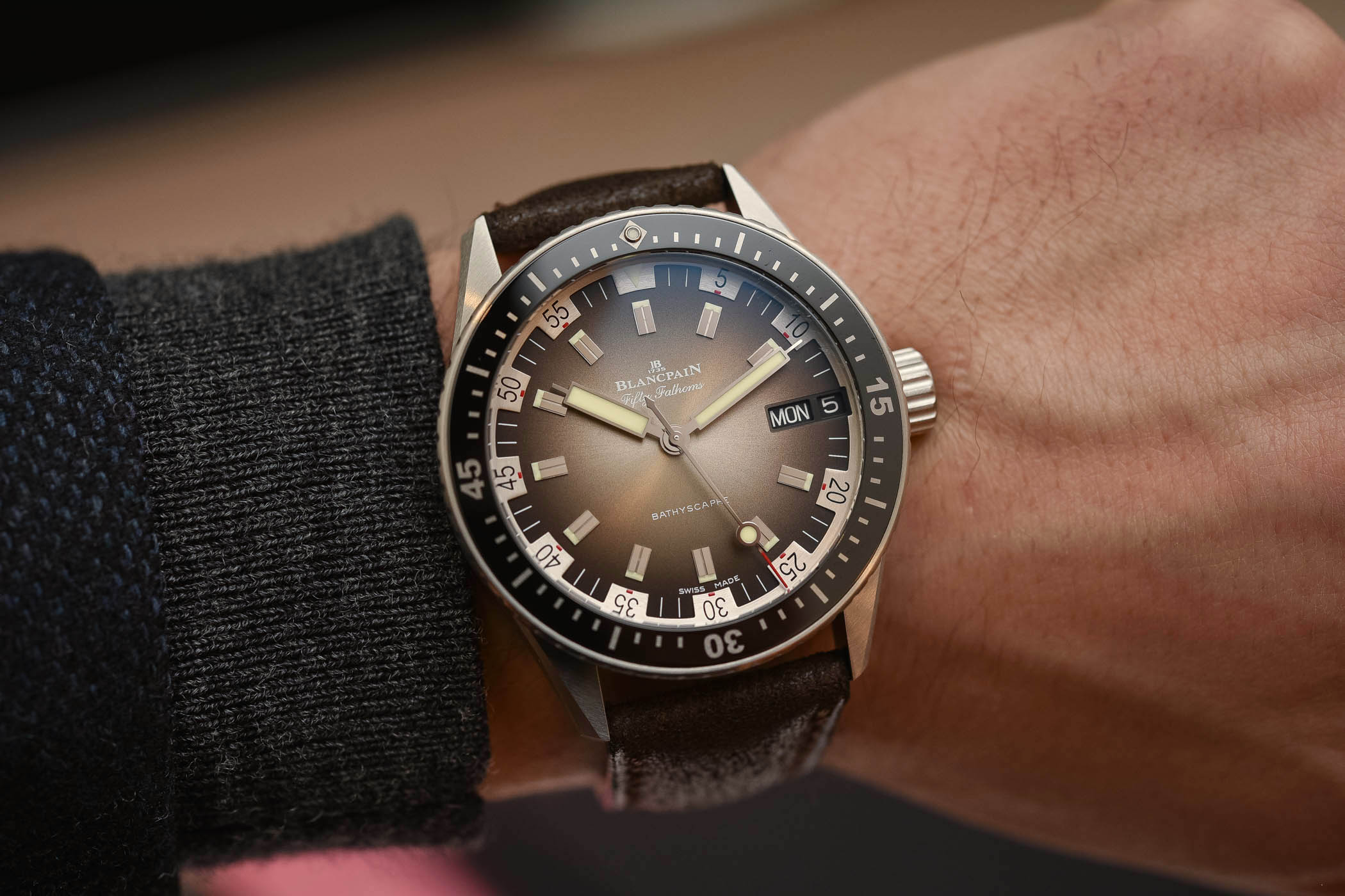 Blancpain Fifty-Fathoms Bathyscaphe Day-Date 70s - Buying Guide Brown Watches