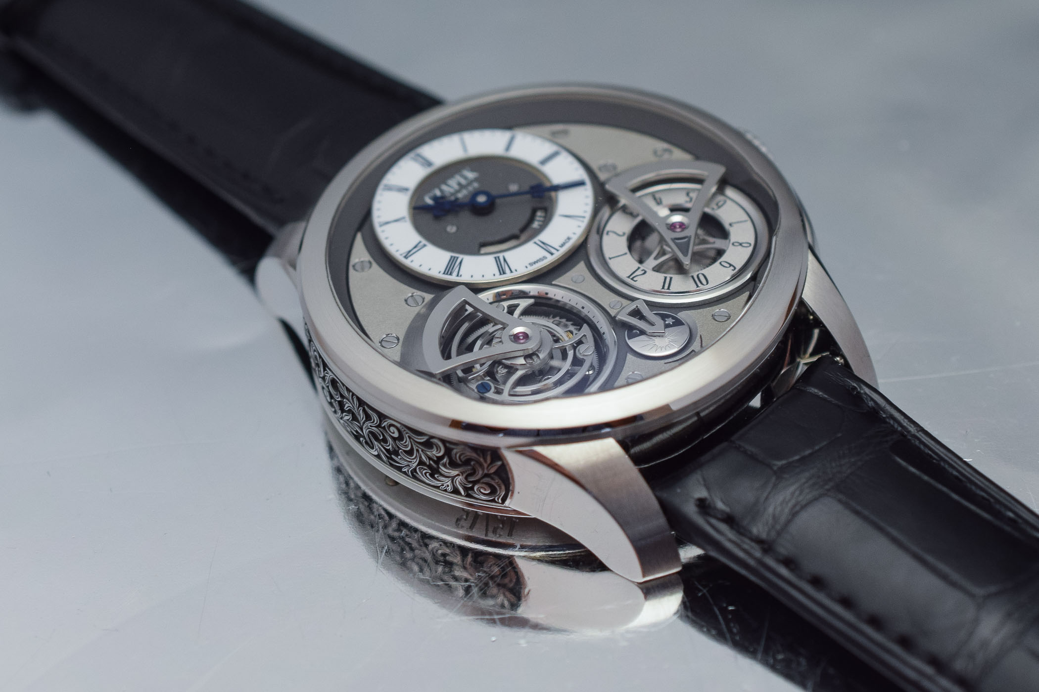 Czapek Place Vendôme Tourbillon Suspendu GMT Acanthus Leaves Engraved