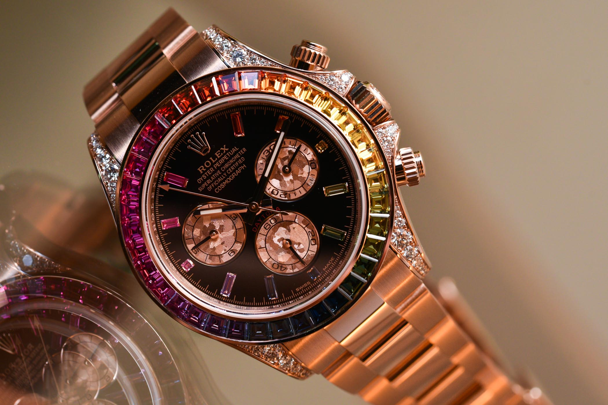 Hands,On , Rolex Daytona Rainbow Everose Gold 116595RBOW
