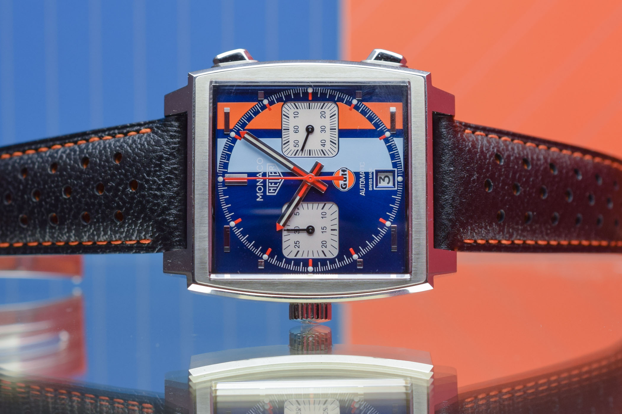 cb70980b8 TAG Heuer Monaco Calibre 11 Gulf 50th Anniversary CAW211T - Review ...