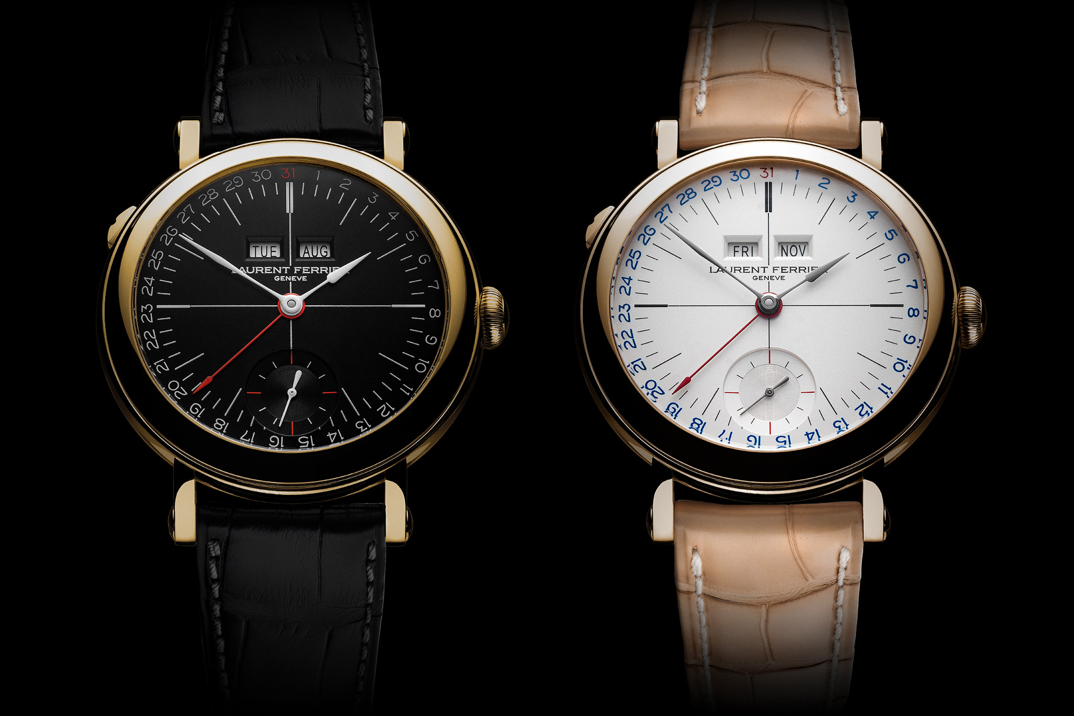 Laurent Ferrier Galet Annual Calendar School Piece Opaline Black and White - SIHH 2019