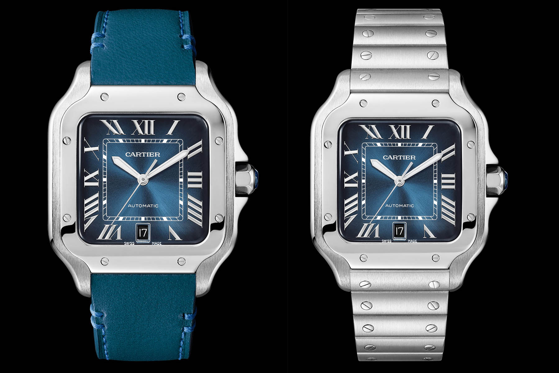 ed3632116621 SIHH 2019 Santos de Cartier Large Model now with Gradient Blue Dial.  Cartier s vision of the luxury sports watch now in a cool gradient blue  edition.