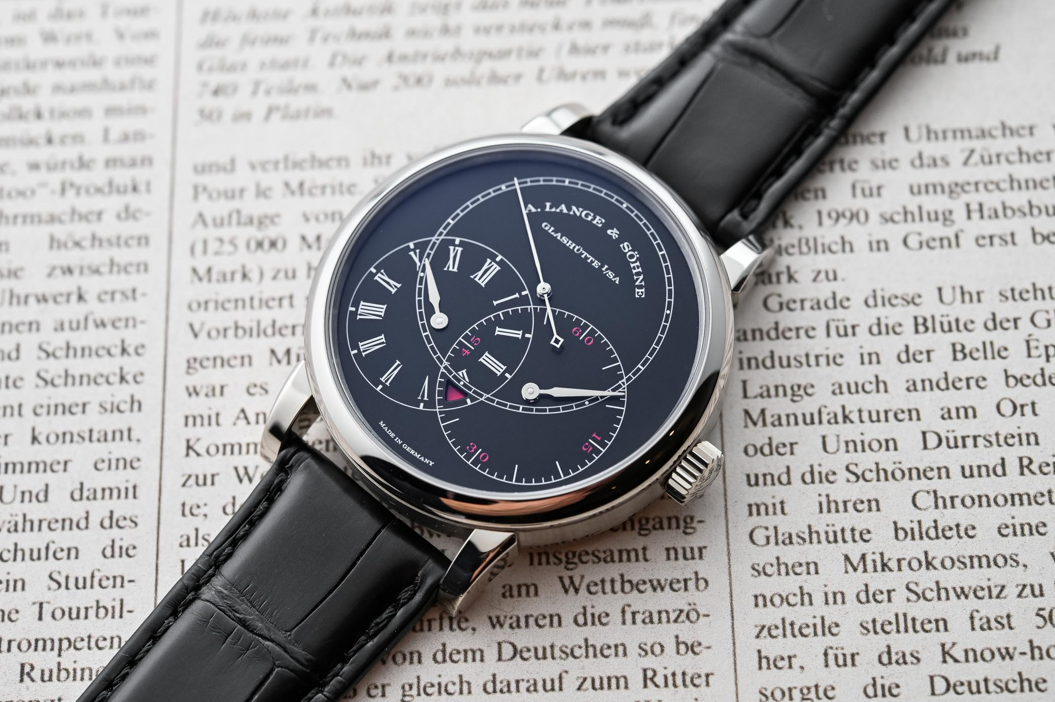 A Lange Sohne Richard Lange Jumping Seconds White Gold and Black Dial - SIHH 2019 - review - 10