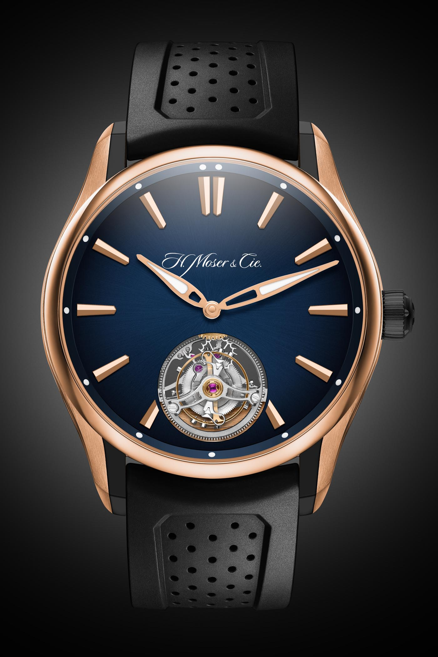H Moser Cie Pioneer Tourbillon Red Gold-DLC Case and Blue Fume Dial - 2