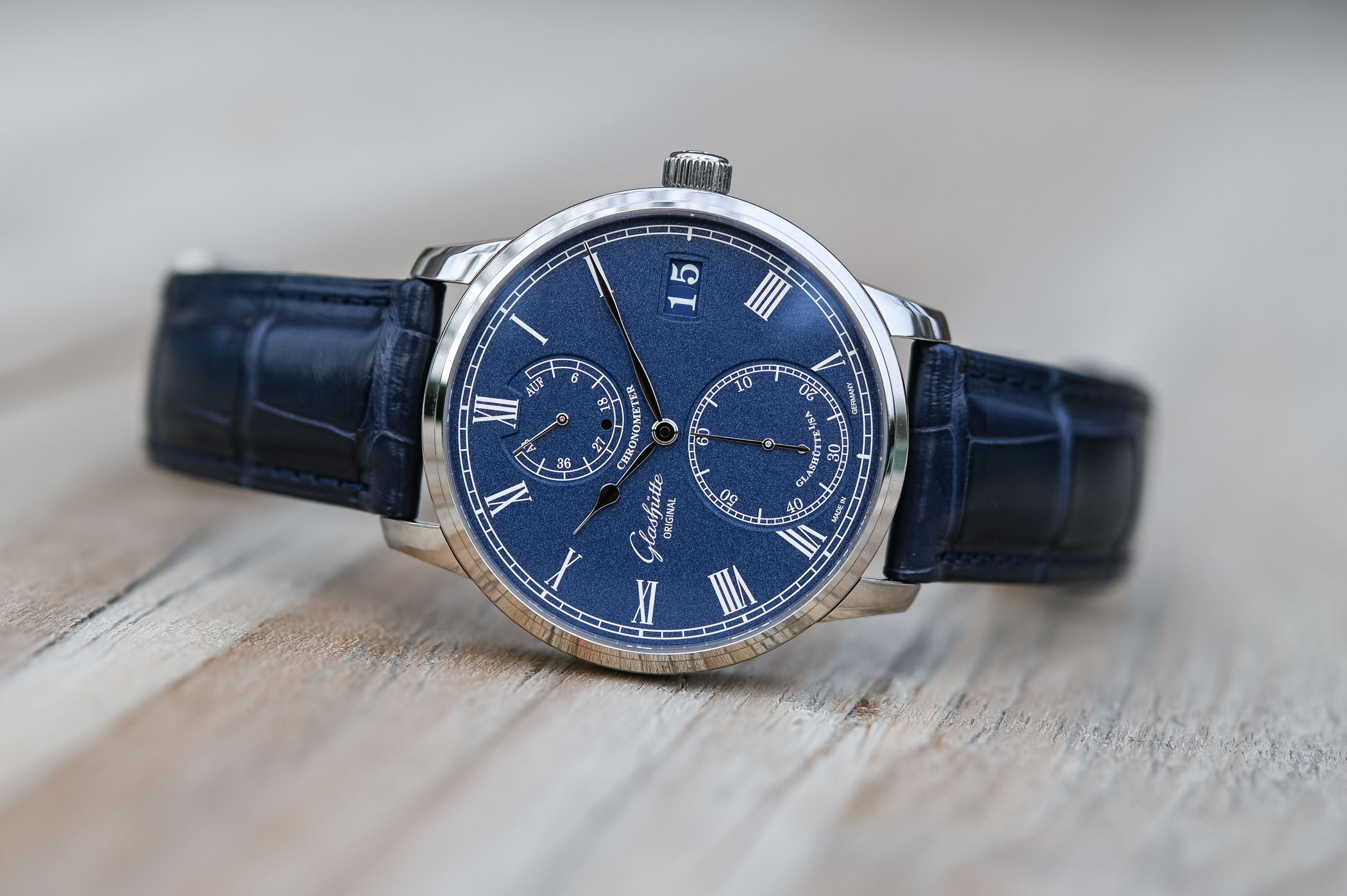 Glashutte Original Senator Chronometer Blue Dial White Gold - Review - 12