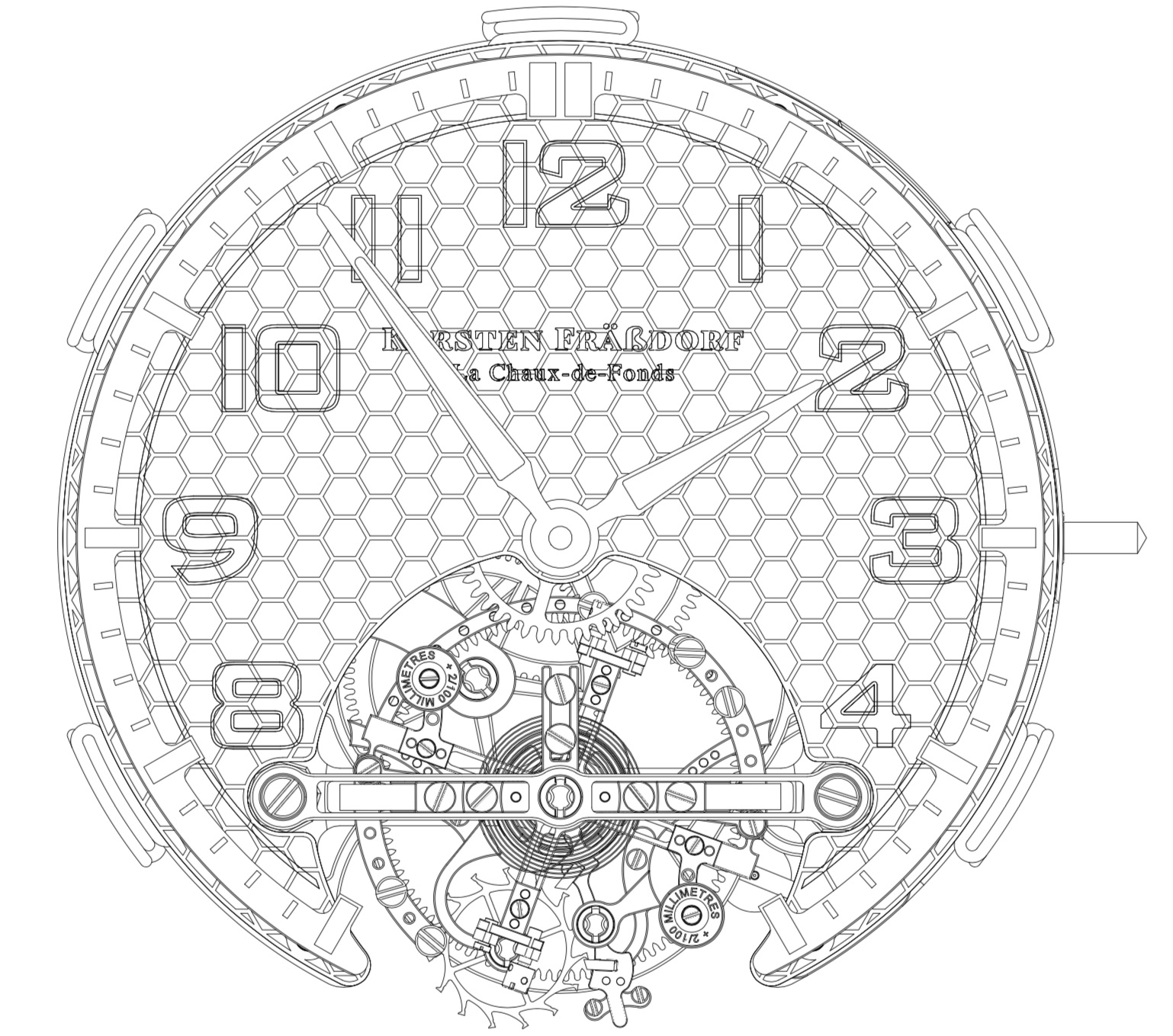 Montres KF Spirograph Tourbillon Sport - movement drawings - 1