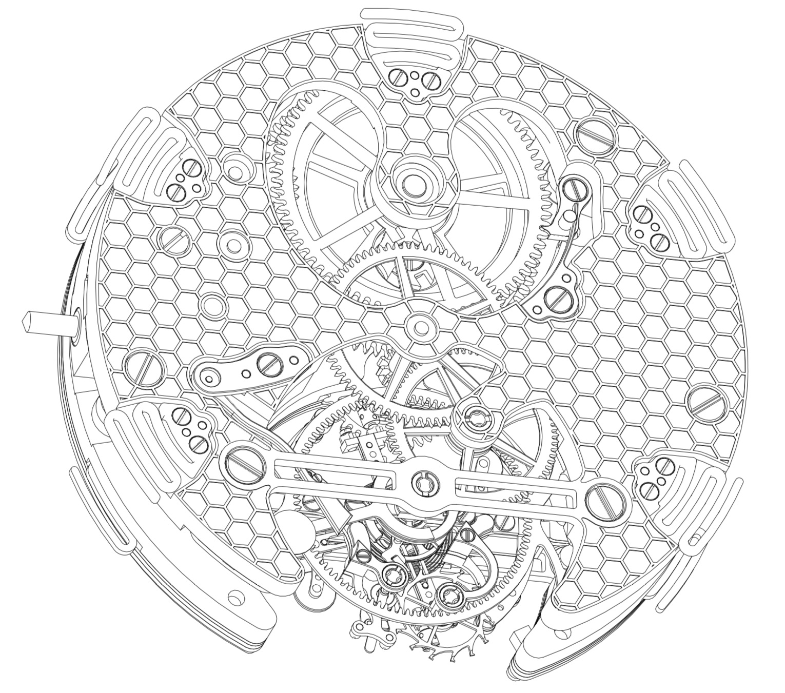 Montres KF Spirograph Tourbillon Sport - movement drawings - 2