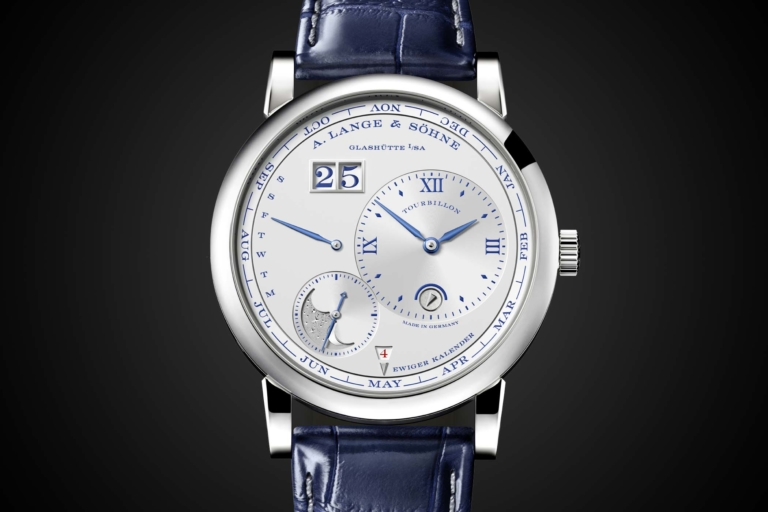 Introducing a lange and sohne lange 1 tourbillon perpetual calendar 25th anniversary specs for Calendar watches