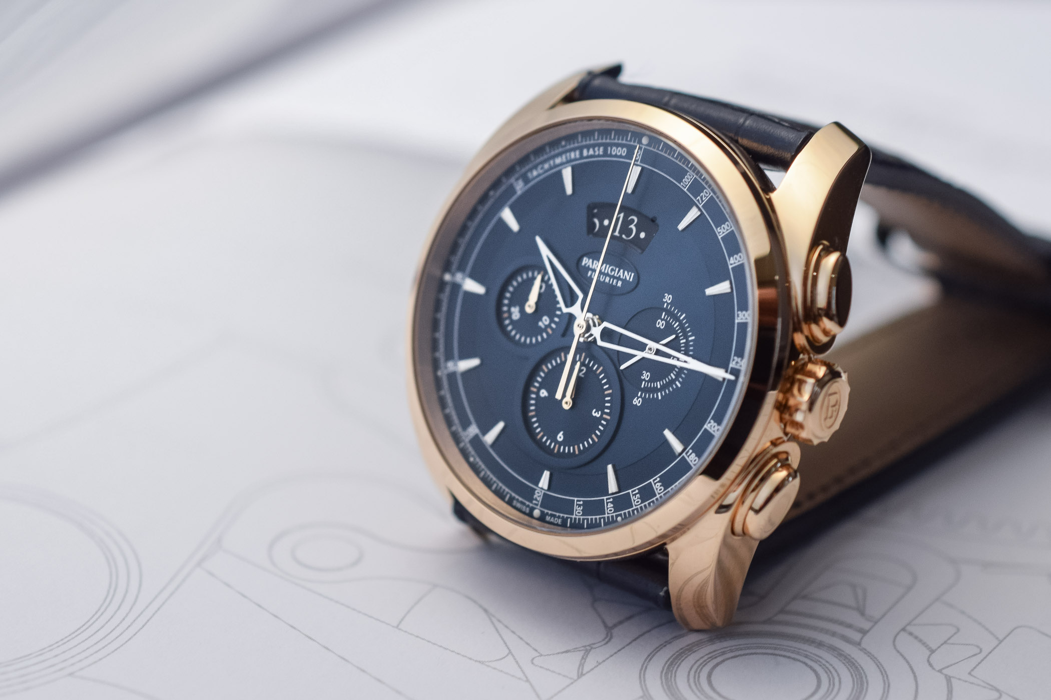 Parmigiani Fleurier Tonda Metrographe Rose Gold and Blue Dial - 4