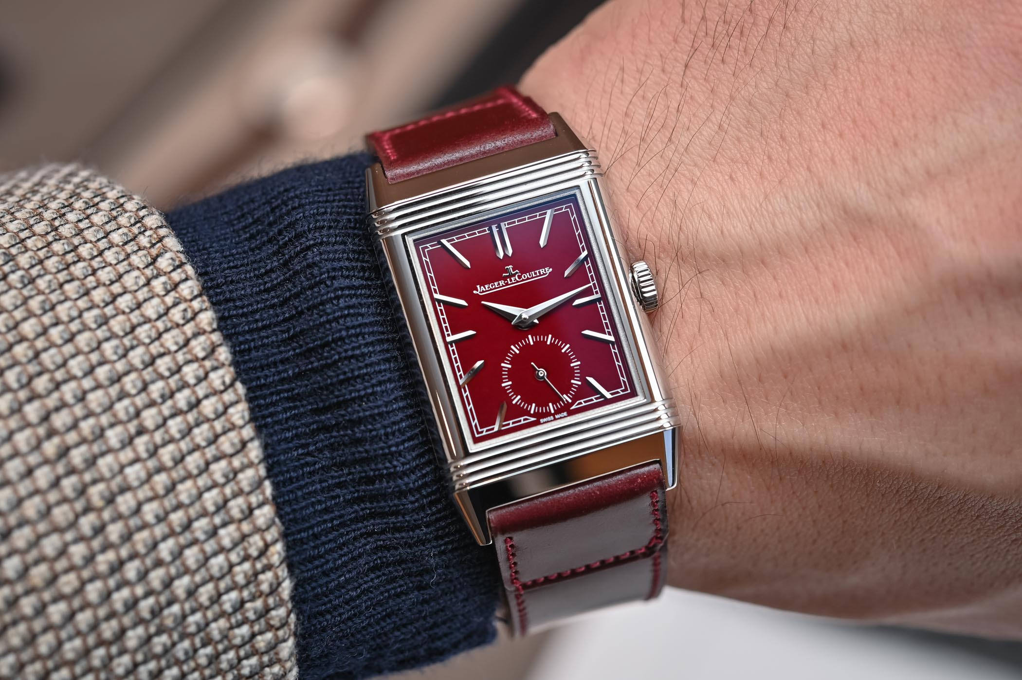 d9532b780c Introducing Jaeger-LeCoultre Reverso Tribute Burgundy and Two New Reverso  Duoface (Hands-On)