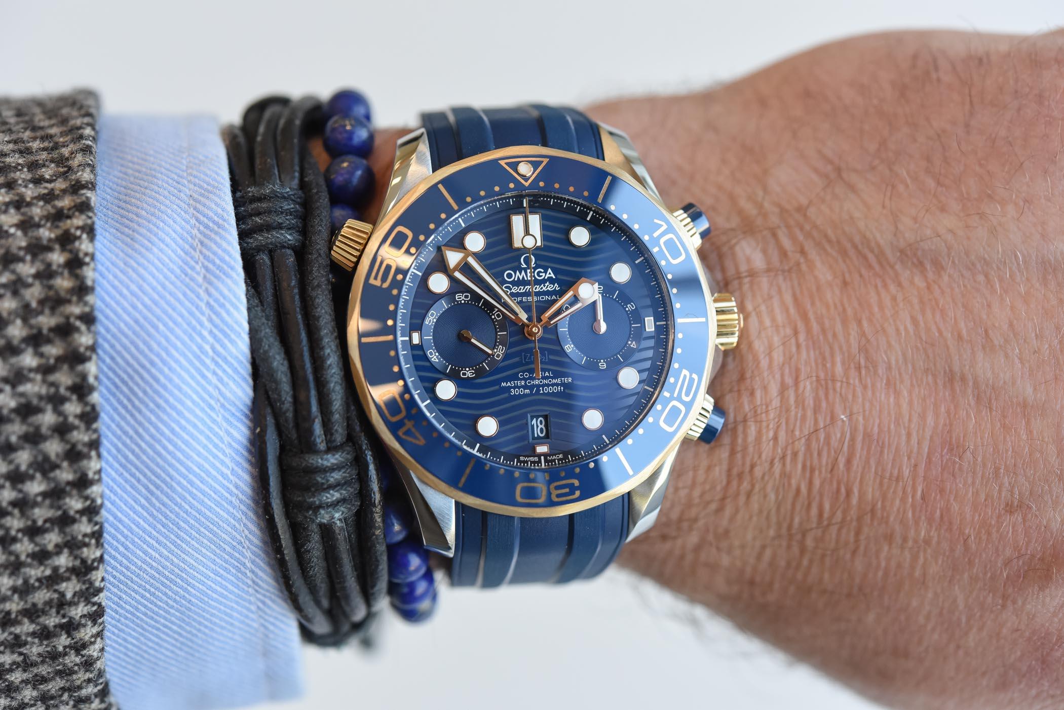 omega seamaster diver 300m chronograph  hands