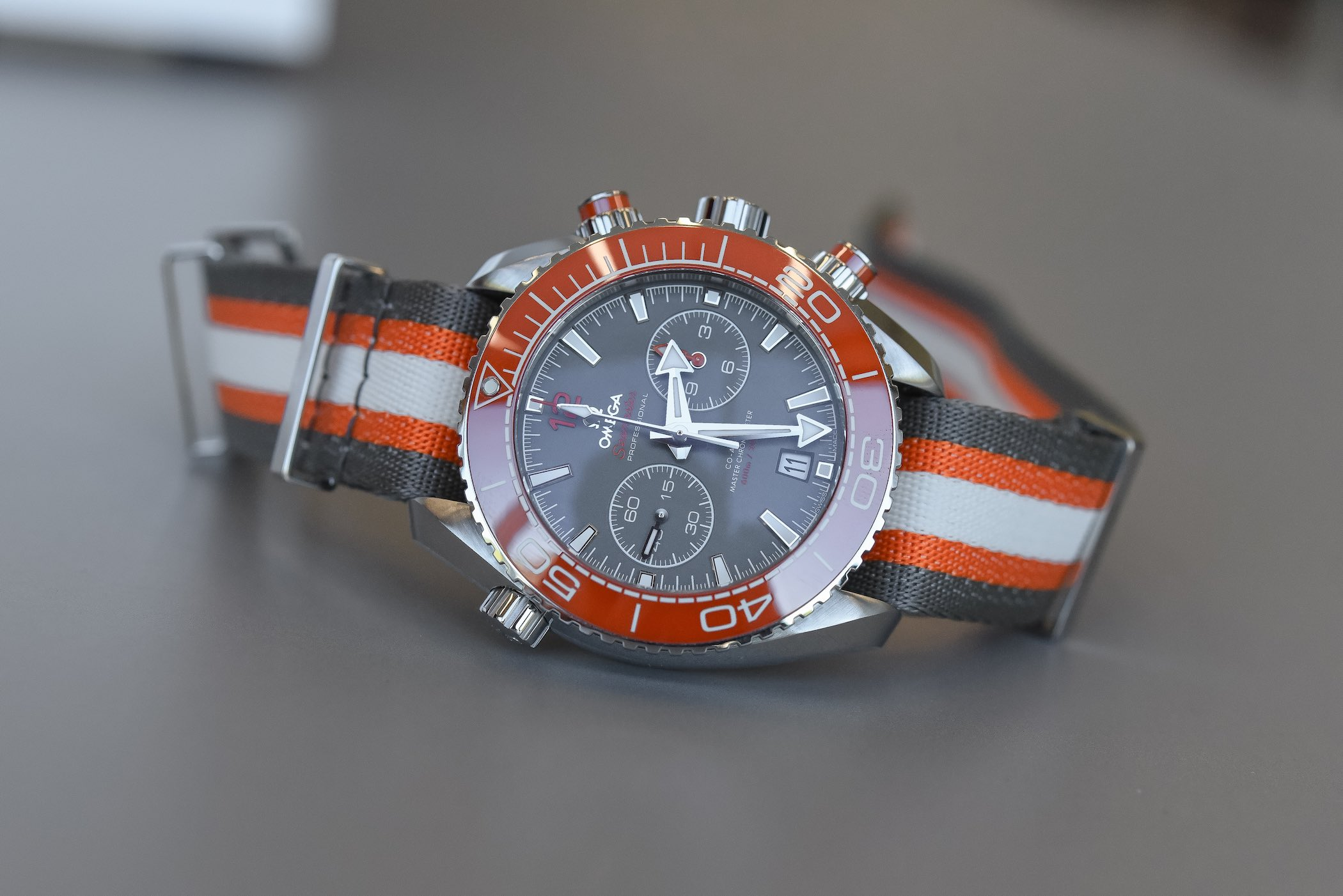 Omega Seamaster Planet Ocean 600m Chronograph Orange Ceramic Bezel and ceramised titanium dial - 215.32.46.51.99.001