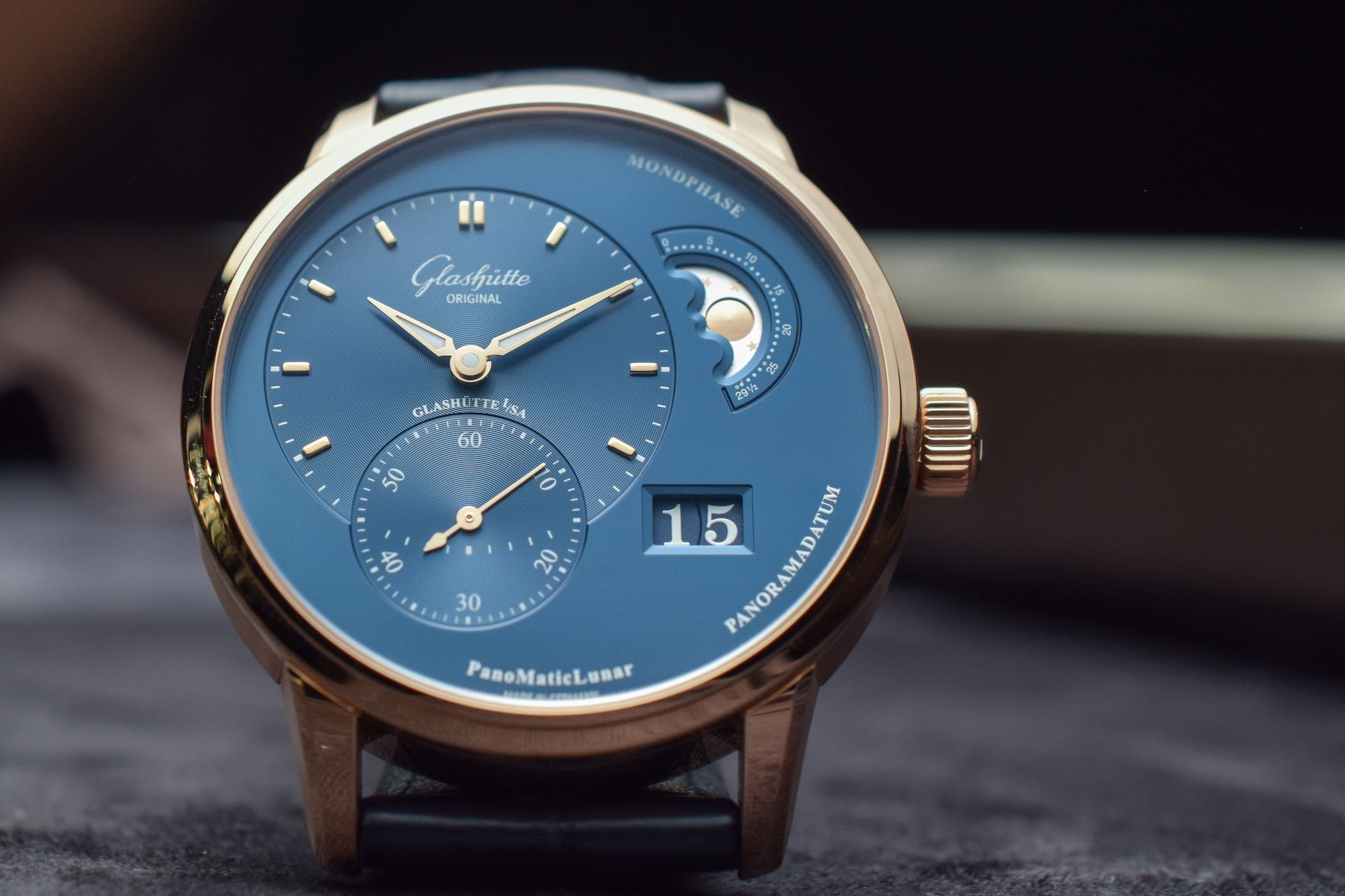 Glashutte Original PanoMaticLunar Blue Dial Red Gold