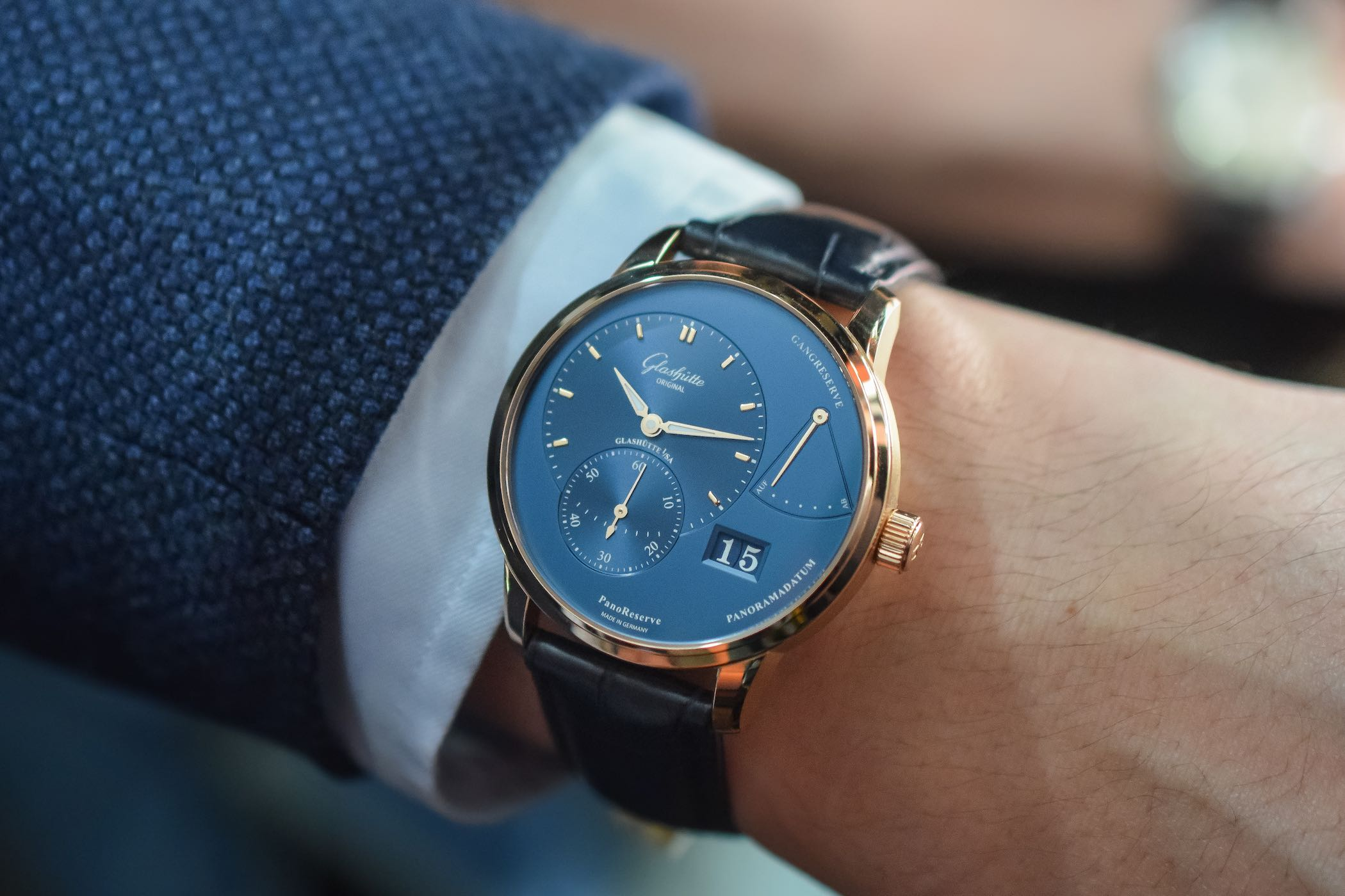 Glashutte Original PanoReserve Blue Dial Red Gold