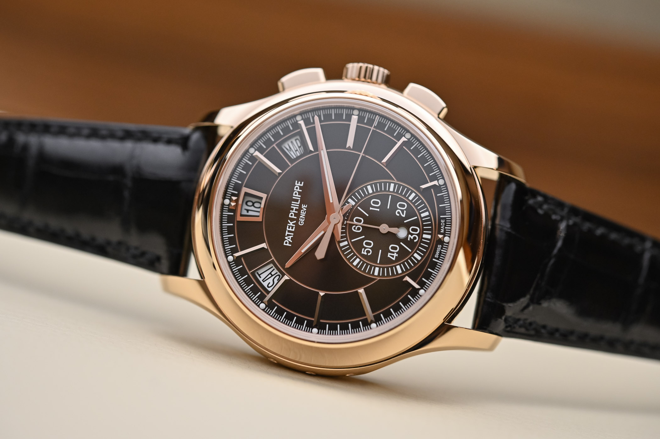 Patek Philippe Chronograph Annual Calendar 5905R-001 Pink Gold Brown Dial