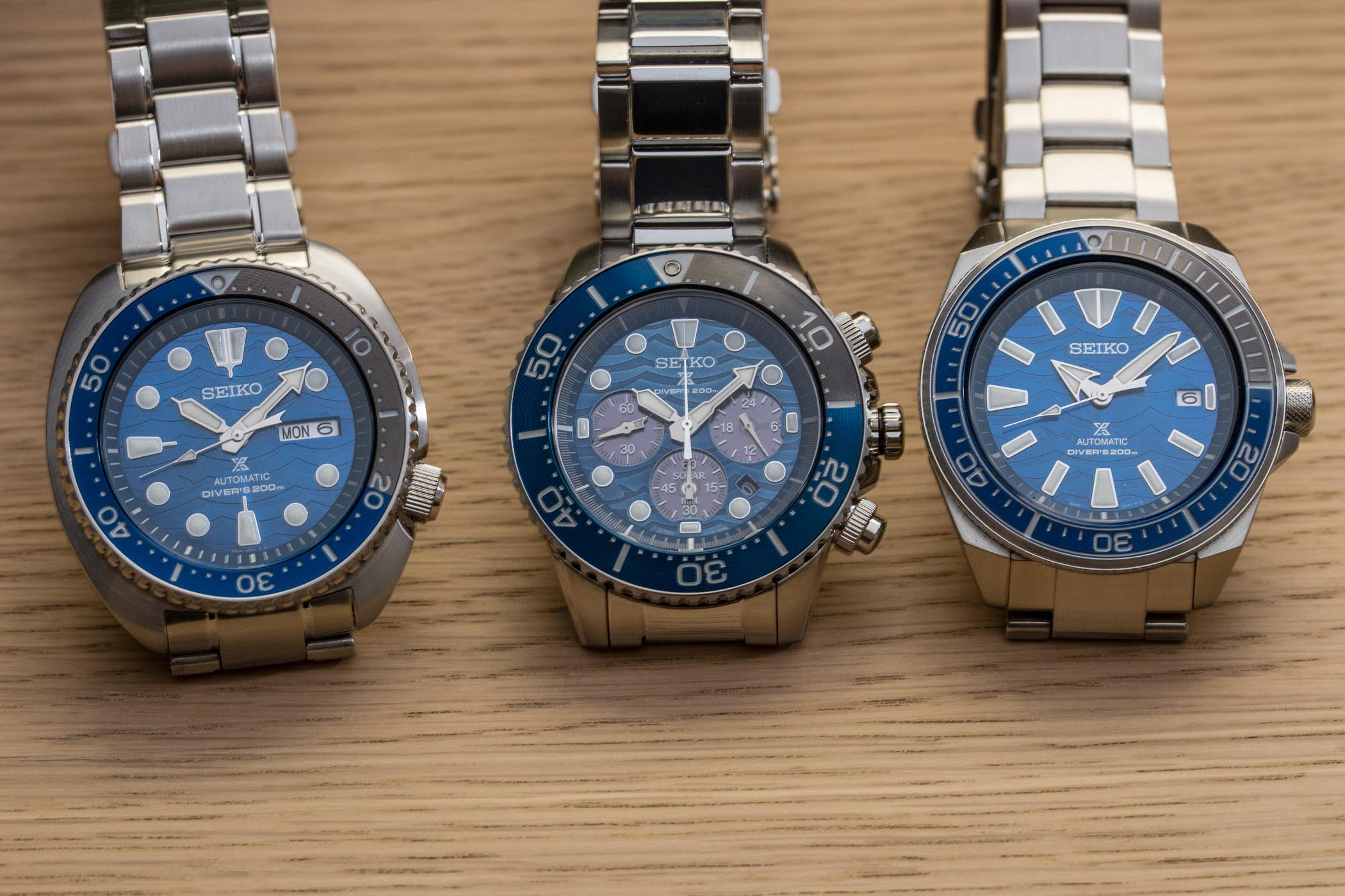 Seiko Save The Ocean Special Edition 2019 Turtle SRPD21K1, Samurai SRPD23K1 & Solar Chrono SSC741P1