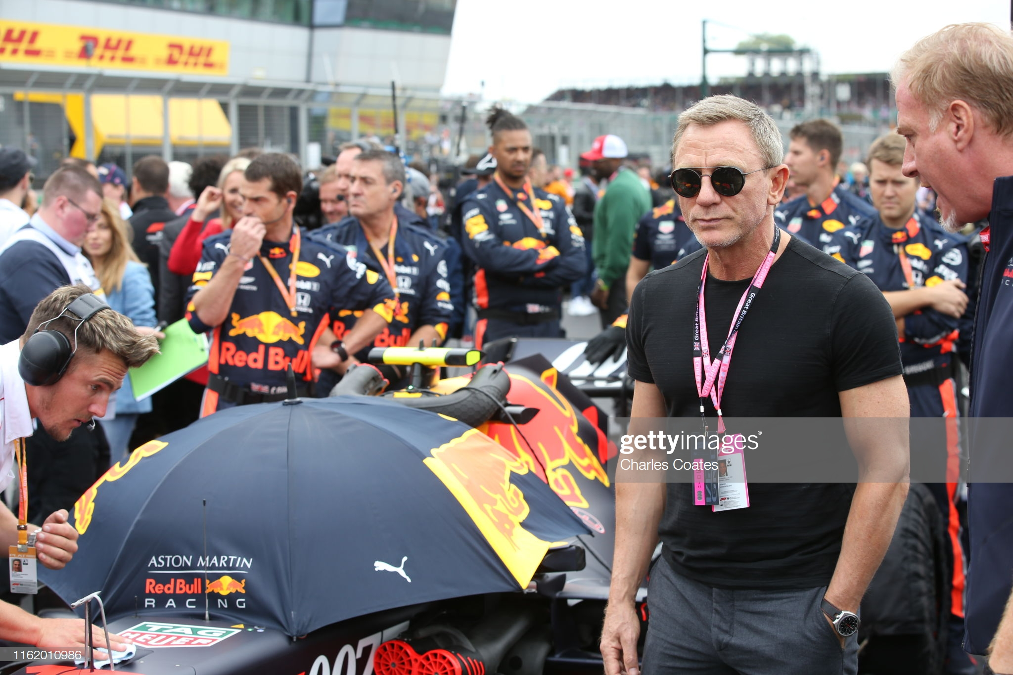 Daniel Craig at 2019 British GP With Omega Seamaster Bullhead