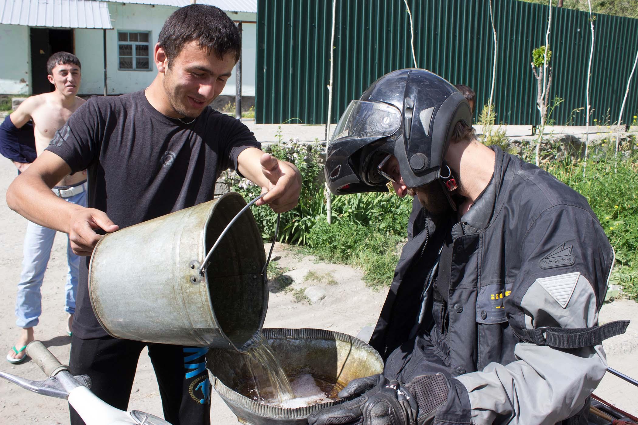 Tanking petrol in Tajikistan