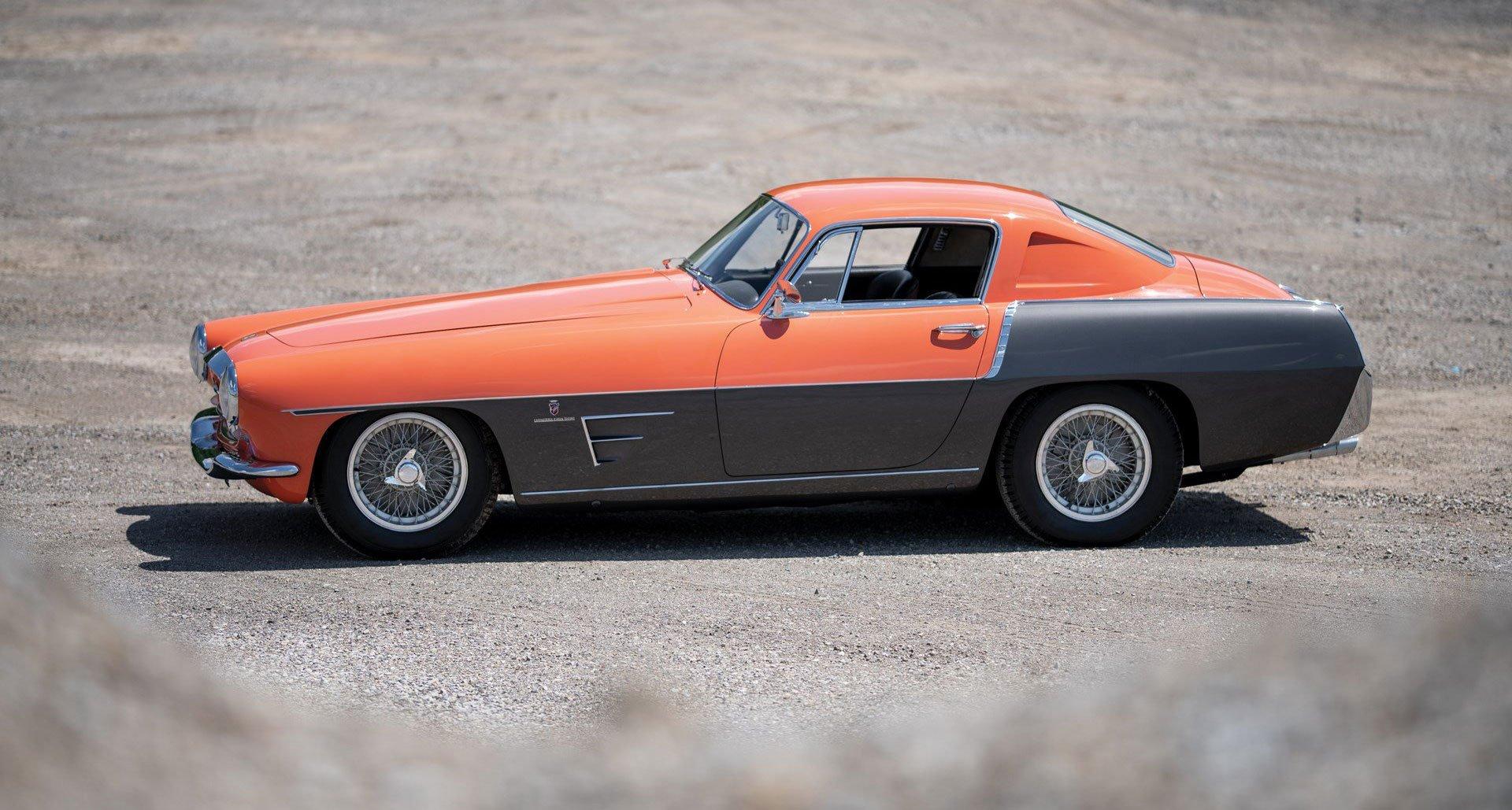 Ferrari 335 MM Ghia two-tone salmon grey - RM Sothebys Monterey 2019 - 3