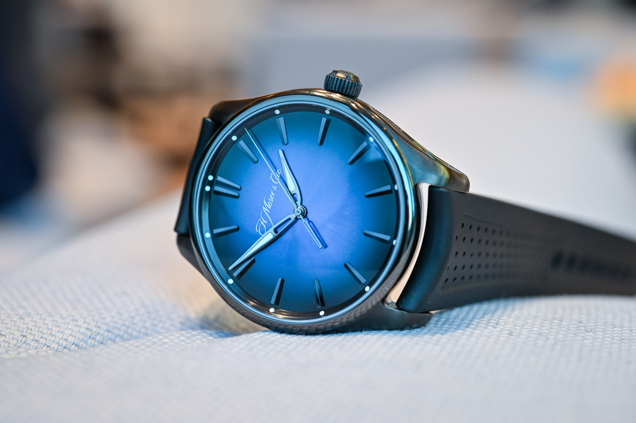 H Moser Cie Pioneer Centre Seconds Funky Blue Black Edition