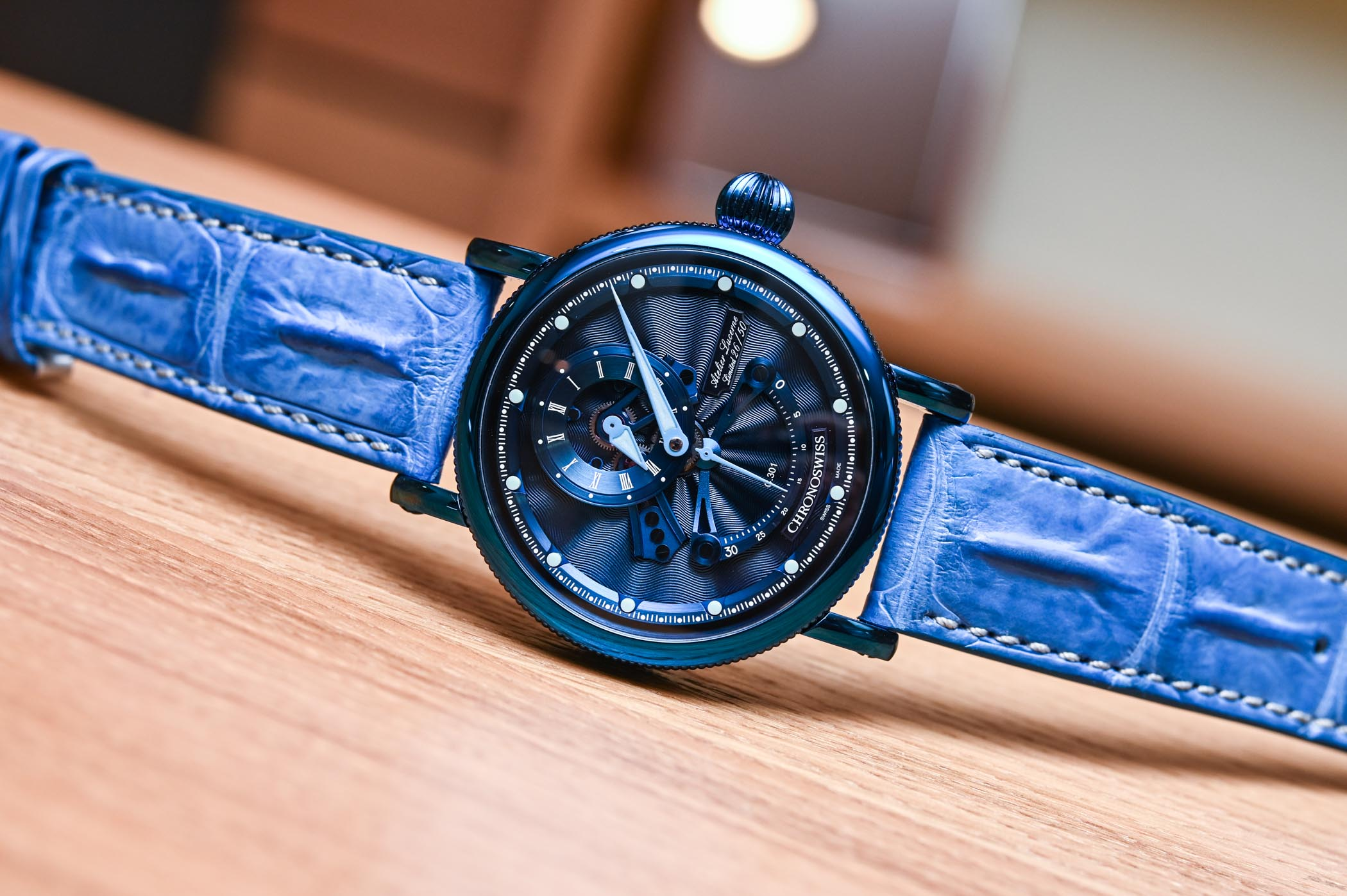 Chronoswiss Regulator Open Gear Resec Electric Blue