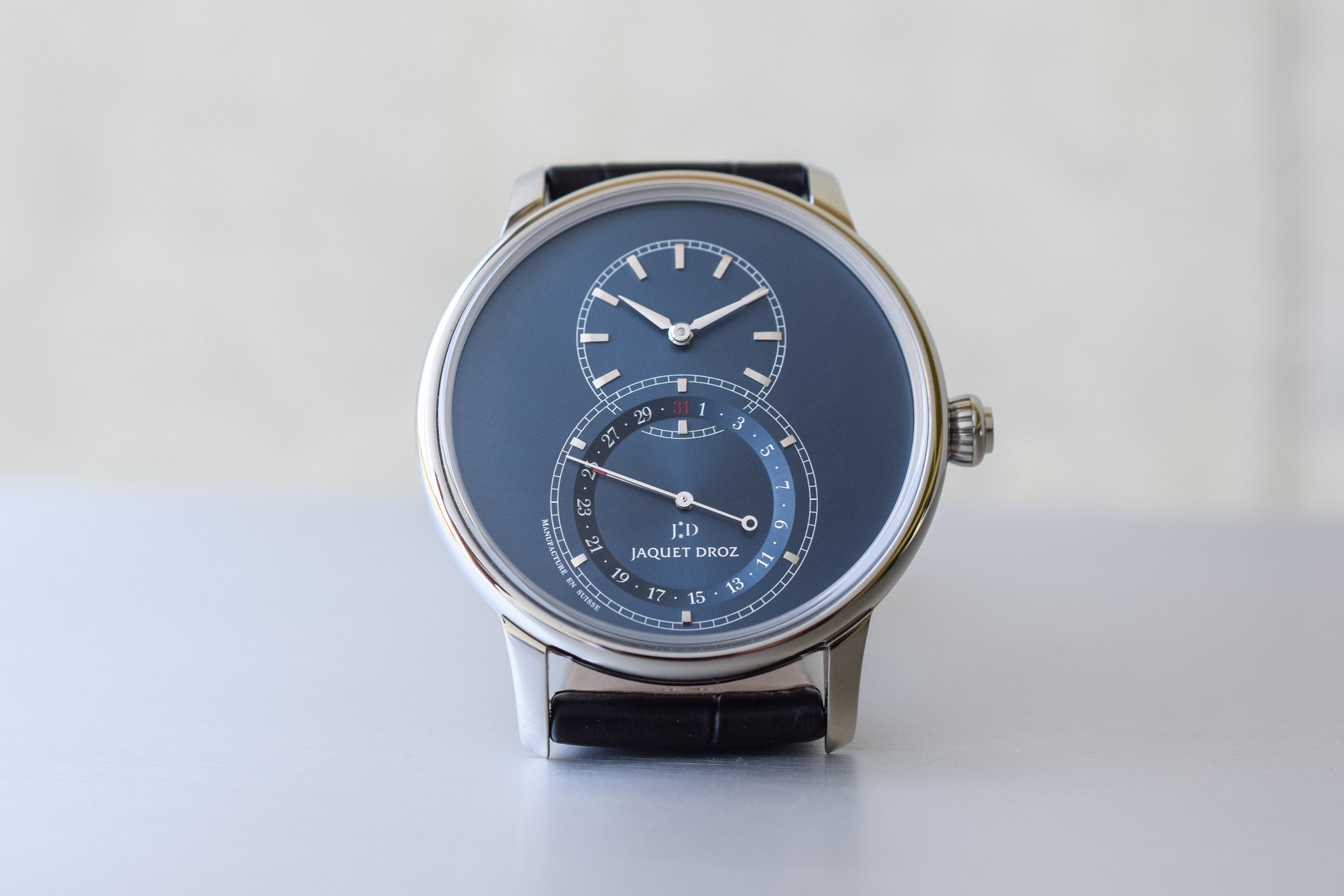 Jaquet Droz Grande Seconde Quantieme Satin-Brushed Blue